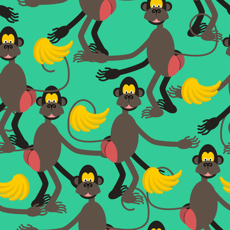 big ass: Hamadryad seamless pattern. monkey red butt and banana background