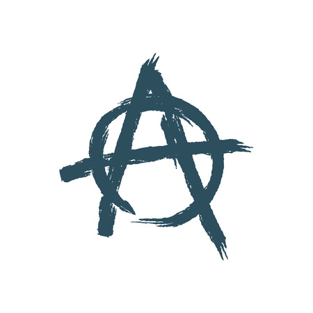 uprising: Anarchy sign isolated. Brush strokes grunge style Illustration