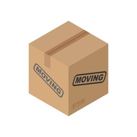 moving box: Cardboard box Moving isolated. pasteboard case on white background Illustration