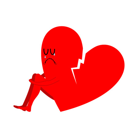 unrequited love: Broken heart symbol of unrequited love. Sad sign of betrayal and treason Illustration