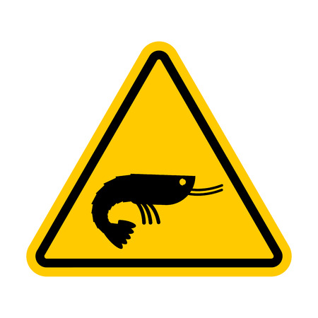 Attention shrimp. Dangers of yellow road sign. plankton Caution