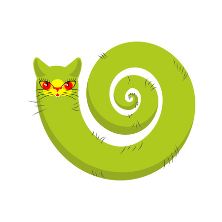 fabulous: Cat fabulous isolated. long tail of Pet on white background Illustration