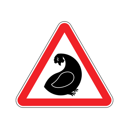 Attention hen. Dangers of red road sign. Chicken farm Caution Illustration