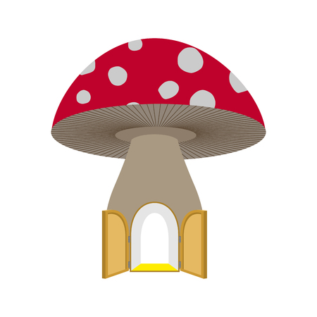 Amanita home fabulous. Open door to mushroom. Fantastic forest structure Illustration