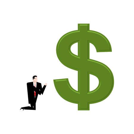 altar: Businessman praying to dollar. Prayer cash. Pray profit Illustration