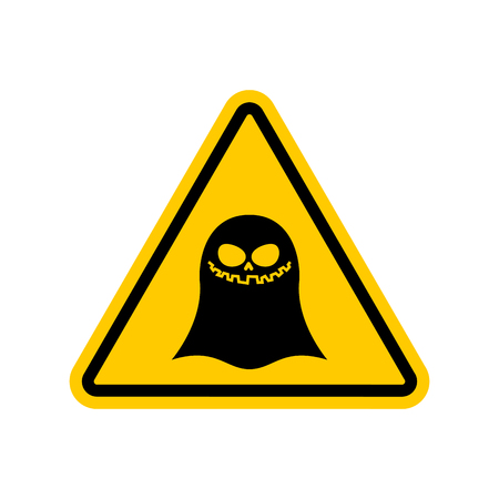yellow beware: Attention ghost. Dangers of yellow road sign. spook Caution