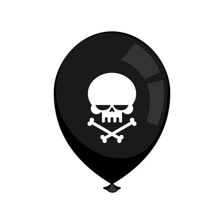 play poison: Black balloon mourning isolated. Skull and crossbones. Bad holiday Illustration