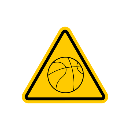 Attention basketball. Dangers yellow road sign. Game Ball Caution Illustration
