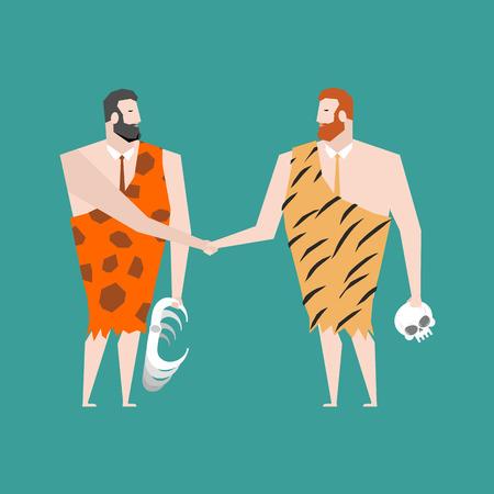 hombre prehistorico: Antigua oferta de negocios. Acuerdo de Neanderthal. apretón de manos hombre prehistórico. prendas de vestir pieles de animales Vectores