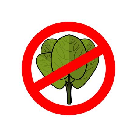 interdiction: Arrêtez les épinards. Ban panneau rouge. feuilles vertes interdites