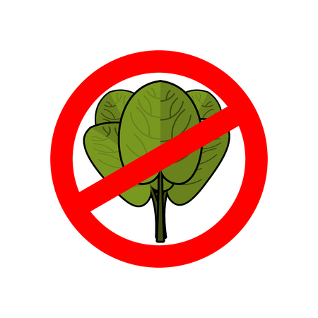 Stop spinach. Ban red sign. Prohibited green leaves