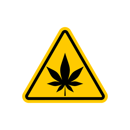 Attention marijuana hemp. Dangers yellow road sign. cannabis Caution Illustration