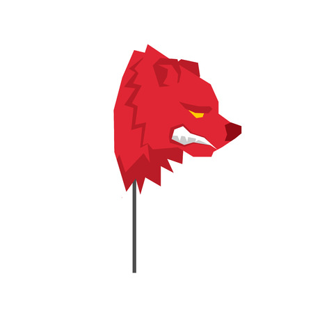 stock trader: Red Bear trader mask. guise Player on stock exchange
