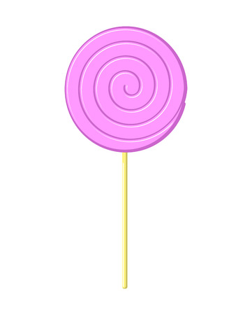 Lollipop pink on stick isolated. Candy on white background. Sweetness Illustration
