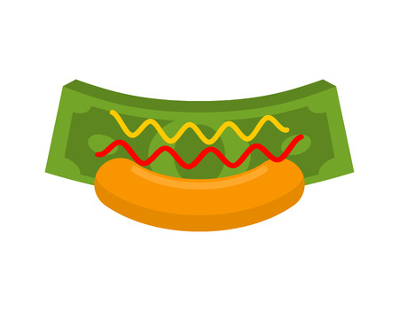Business Hot Dog. Money in bun. Fast cash. Dollars and mustard with ketchup