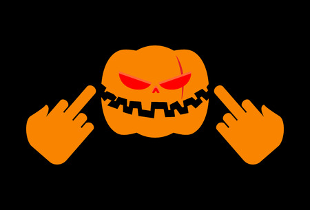 Angry Pumpkin Halloween shows to fuck. Aggressive vegetable for terrible holiday
