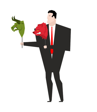 Trader and mask Green Bear and Red Bull. Player on stock exchange Illustration