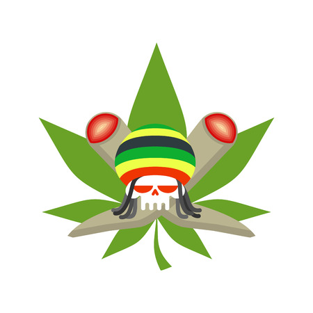Rasta logo. Rastafarian hat and skull. joint or spliff and marijuana leaf