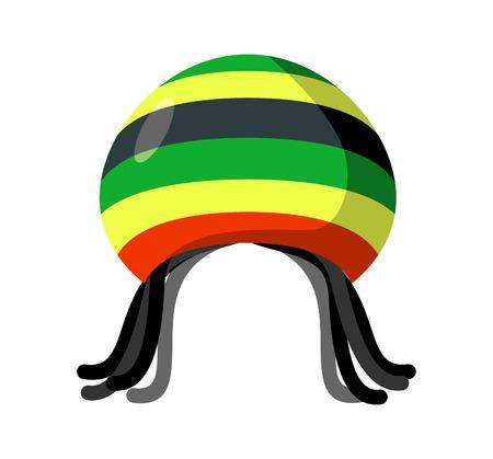 rasta hat: Rastafarian hat and dreadlocks isolated. Jamaica cap and hair