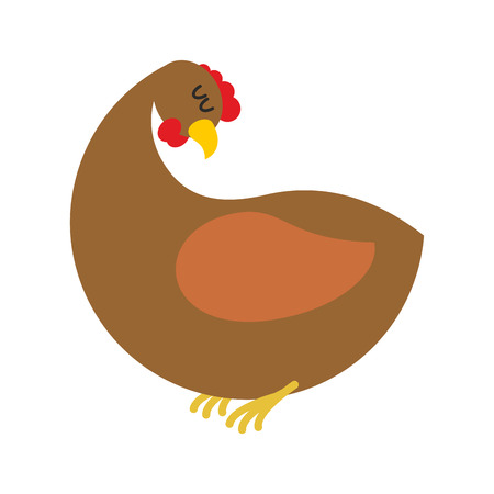 brood: ginger hen isolated. Farm chicken on blue background