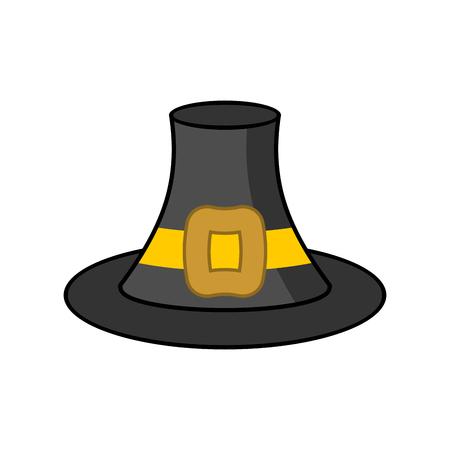 Pilgrim hat isolated. Old Black cap traveler on white background