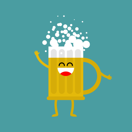 Beer happy isolated. lager mug on white background. drinking for Oktoberfest celebration in Germany