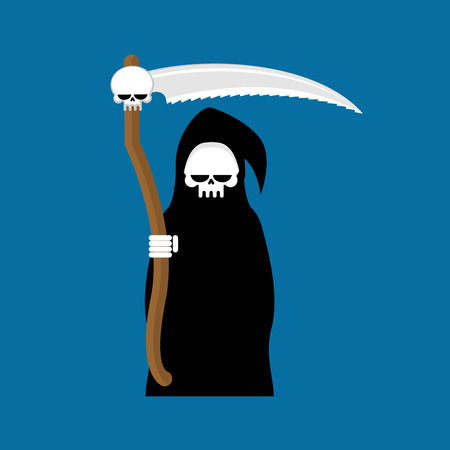 Grim Reaper with scythe isolated. Death in hood on white background Illustration