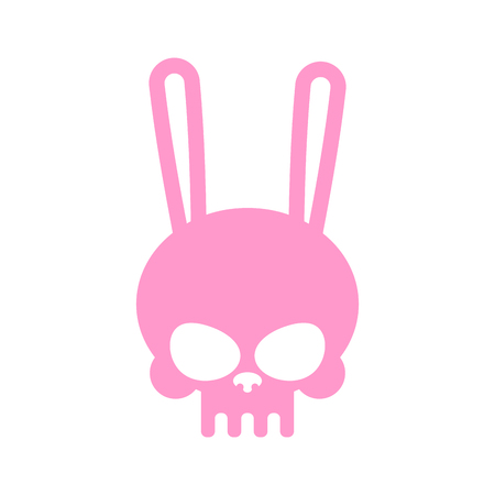 Rabbit skull isolated. Pink hare skeleton head