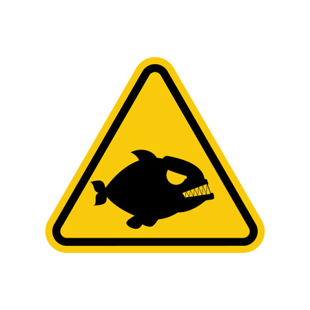 Attention piranha. Dangers of yellow road sign. Predatory fish Caution Illustration