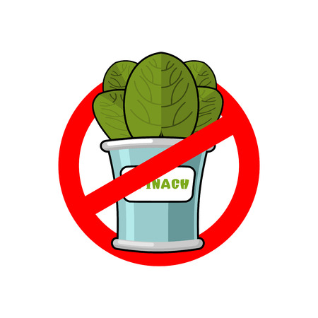 banned: Stop spinach. Ban red sign. Prohibited green leaves
