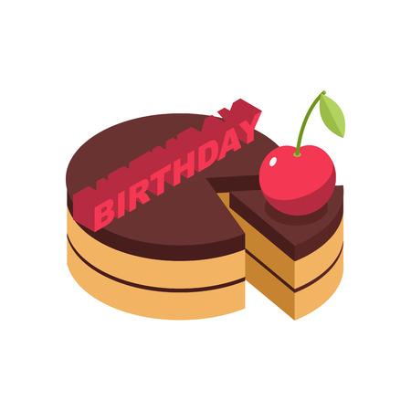 glace: Birthday cake cherry isolated. cherries pie on white bacground