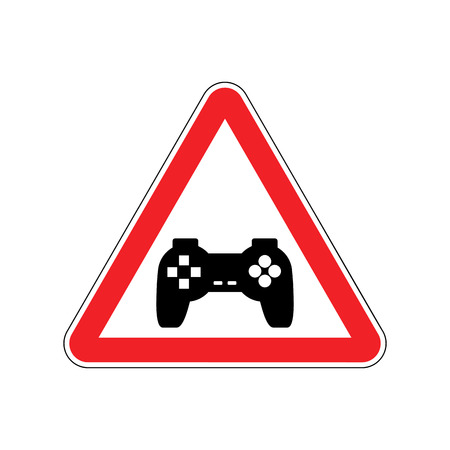 Attention video games. Dangers of red road sign Gamepad. Caution joystick. gadget console. videogame accessory Illustration