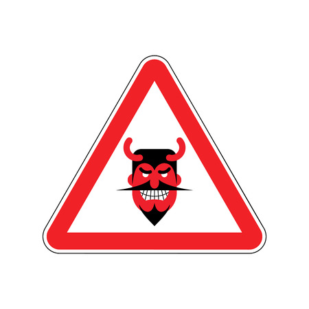 Attention devil. Dangers of red road sign. Satan Caution!