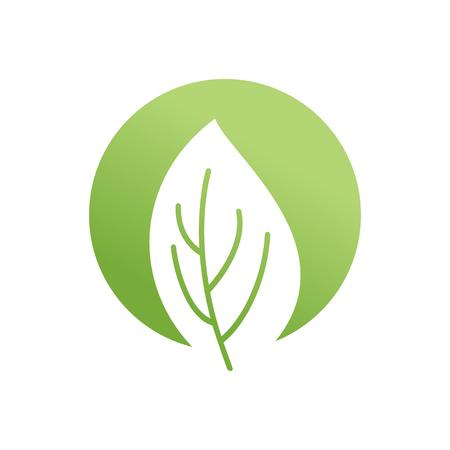Green leaf emblem. Eco logo. Bio sign Illustration