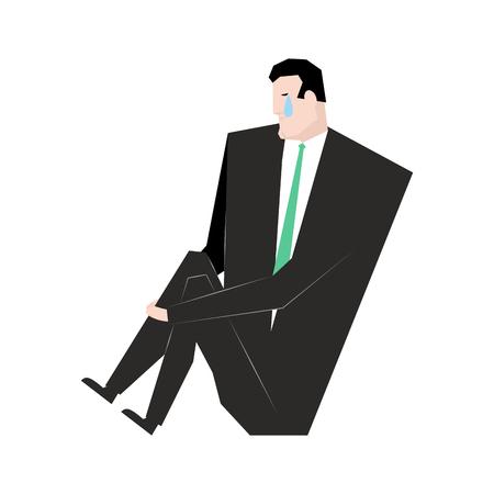 sad businessman: Sad businessman. sorrowful boss. Crying guy. Sadness manager