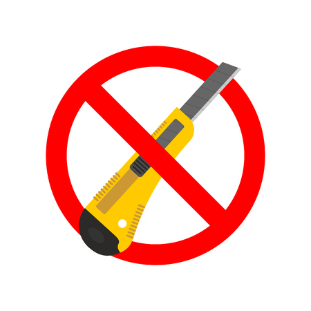 dangerous work: Stop Stationery knife. Ban Office paper cutter. Red prohibition sign