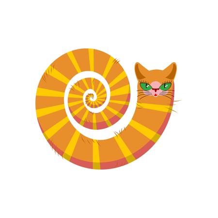 Cat fabulous isolated. long tail of Pet on white background Illustration