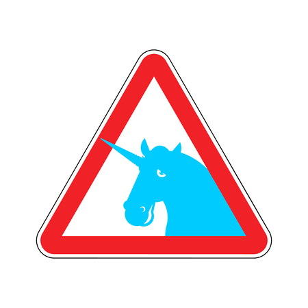 ring road: Attention unicorn. Dangers of red road sign. LGBT Caution