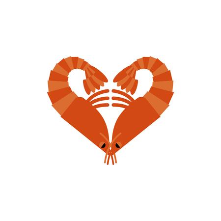 plancton: Camarones aislado amor. Corazón de plancton en el fondo blanco Vectores