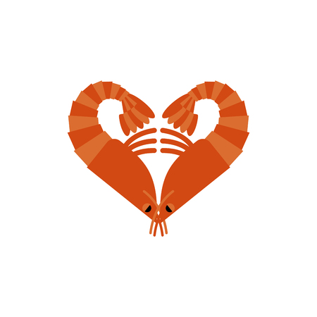 plankton: Shrimps love isolated. Heart of plankton on white background Illustration