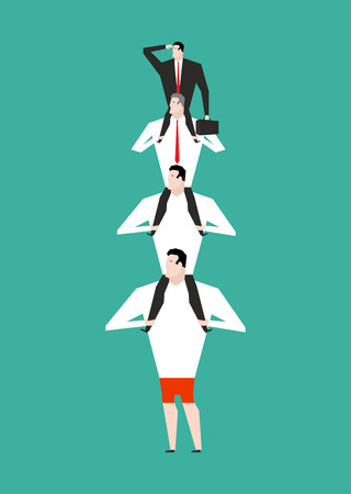 hierarchy: Office Hierarchy. Business pyramid. company structure. Boss sitting on shoulders on subordinates. Managers hold head. Illustration