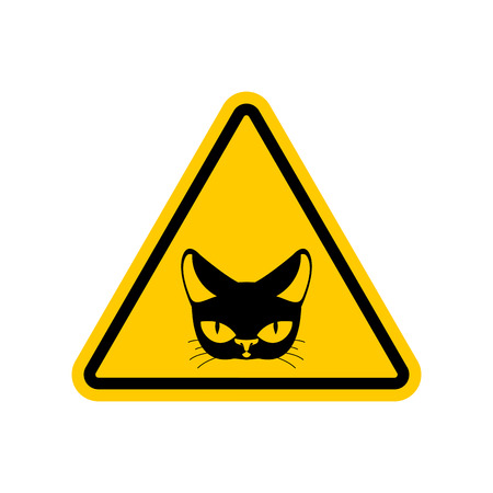 yellow beware: Attention cat. Danger yellow road sign. Pet Caution