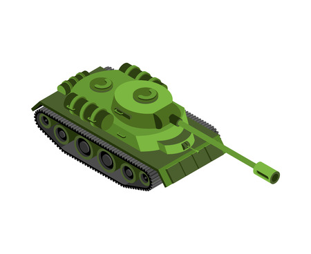 Military tank isolated. Army war machine on white background Illustration