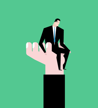 boss helping employee - Protege on hand. help for businessman. business Allegory