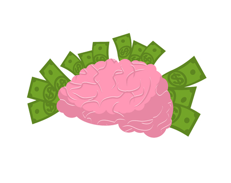 profusion: brain and money isolated. Business idea concept. Human brains and cash. Dollar think