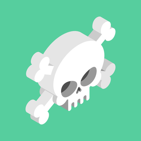 privateer: Skull and crossbones isolated. pirate Danger sign. skeleton head symbol of death