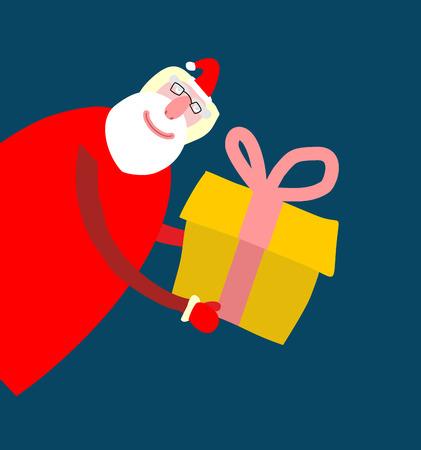 Kerstman isoleerde. Vrolijk kerstfeest grootvader. Kerstmis en Nieuwjaar illustratie