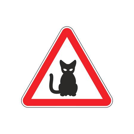 fatal error: Attention cat. Danger red road sign. Pet Caution Illustration