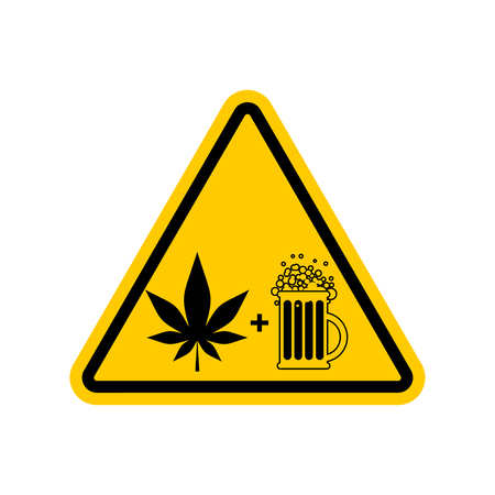 yellow beware: Attention Drugs and alcohol. Dangers yellow road sign. beer and marijuana Caution
