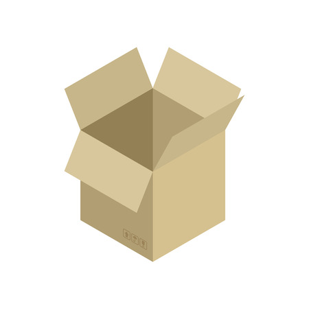 moving box: Cardboard box open isolated. Containers for Moving